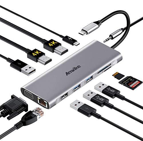 USB C Hub, ANWIKE Docking Station Compatible MacBook Pro & MacBook Air, ipad Pro,Dell XPS, MacBook Docking Station (DP ALT) with 2 HDMI, VGA, Ethernet, Audio, 4 USB Ports, USB-C PD, SD/TF