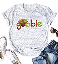 Material: Cotton Blend. Stretchy and Soft. Fetures: Gobble Letter Print Thanksgiving T-Shirt, Cute Little Turkey Graphic Short Sleeve Tees Shirt, O-Neck Design, Casual Loose Fall Shirt Tops Occasion: Shopping, Outdoors, Work, Party, Daily life, Holid...