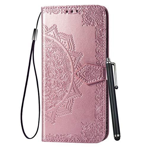 Yiizy Handyhüllen für LG G8 ThinQ LMG820QM7 Ledertasche, Sonnenblume Stil Lederhülle Brieftasche Schutzhülle für LG G8 ThinQ hülle Silikon Cover mit Magnetverschluss Kartenfächer (Roségold)
