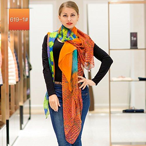 YRXDD Foulard Femme Longue Coupe de châle écharpe Longue Couleur Solide (140 * 200cm), Orange Rouge