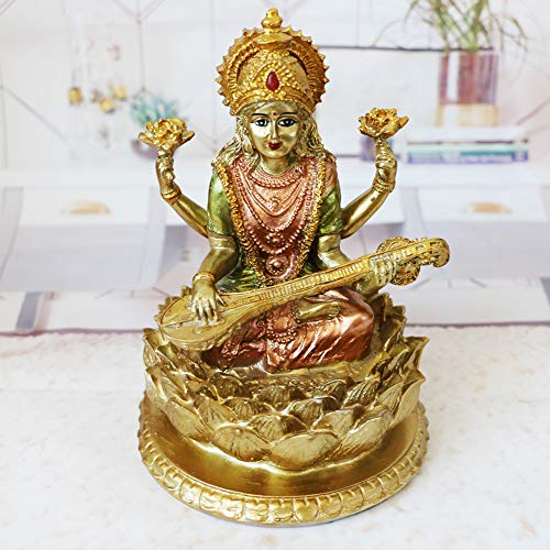 BangBangDa Hindu-Göttin Saraswati Statue – Indianisches Idol sitzend auf Lotus-Skulptur – Indien Wissen, Musik, Kunst, Weisheit Figur