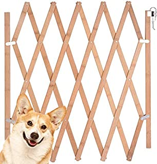 """Expandable Accordian Dog Gate, Wooden Accordion Expansion Gate for Doorway Stairs, Folding Gate Safety Protection for Small Medium Pet Dog, 10"""" to 41"""" W, 16"""" H & 8"""" to 43"""" W, 27"""" H"""