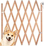 """Urijk Expandable Accordian Dog Gate, Wooden Accordion Expansion Gate for Doorway Stairs, Folding Gate Safety Protection for Small Medium Pet Dog, 10"""" to 41"""" W, 16"""" H & 8"""" to 43"""" W, 27"""" H"""