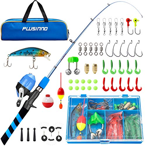 PLUSINNO Kids Fishing Pole, Portable Telescopic Fishing Rod and Reel Combo Kit - with Spincast Fishing Reel Tackle Box for Boys, Girls, Youth…