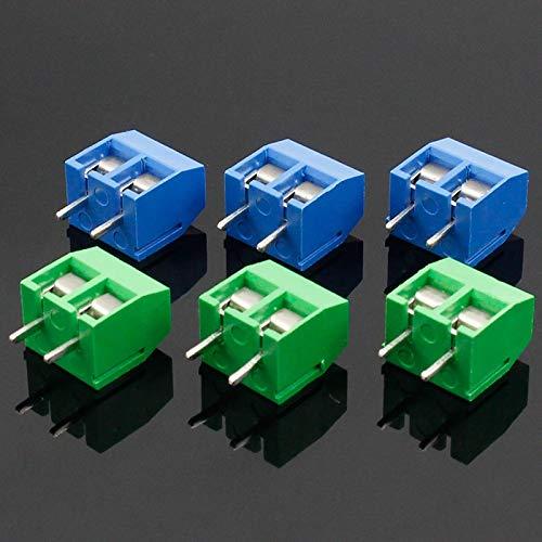 Kit de conectores de encogimiento de calor KF301-2P KF301-5.0-2P KF301 Tornillo 2P 5,0 mm Terminal de tornillo Alfiler PCB Bloque conector azul y verde Terminales de tierra ( Color : Green )