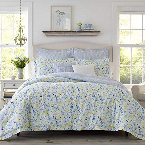 Laura Ashley | Nora Collection | Comforter Set-Ultra Soft All Season Bedding, Stylish Delicate Design Bedspread With Matching, Euro Sham(s), and Throw Pillows, Full/Queen, Bright Blue