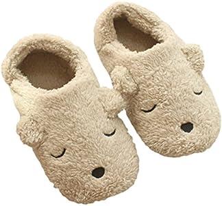 Para mujer Zapatillas de forro polar, interior Cute Cartoon Invierno Suave Cálido acogedor antideslizante patucos peluche Mules casa dormitorio Slip-On zapatos botines para niñas damas, Bear