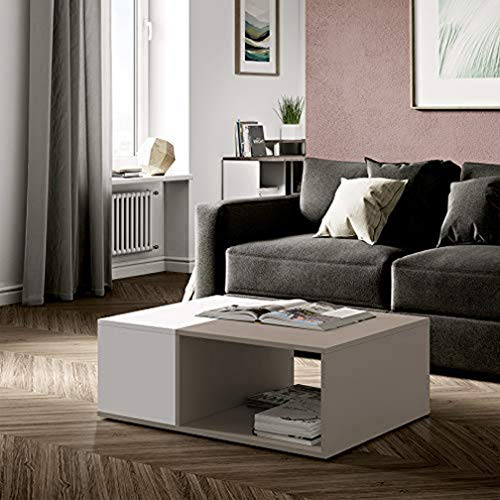 TemaHome Contemporain Table Basse Bivolume Blanc/Taupe 89 x 67 x 34 cm TemaHome