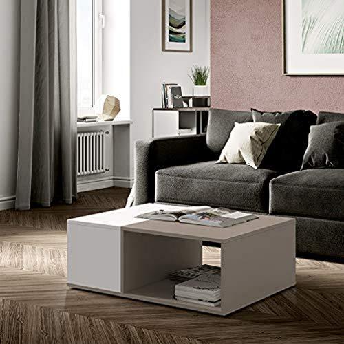 Wood & Colors Dakota A Tavolino, Legno, Bianco/Tortora, 34 x 89 x 67 cm