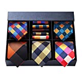 HISDERN Lot 5 PCS Classic Men's Silk Tie Set Necktie & Pocket Square with Gift Box,T5-s6,One Size