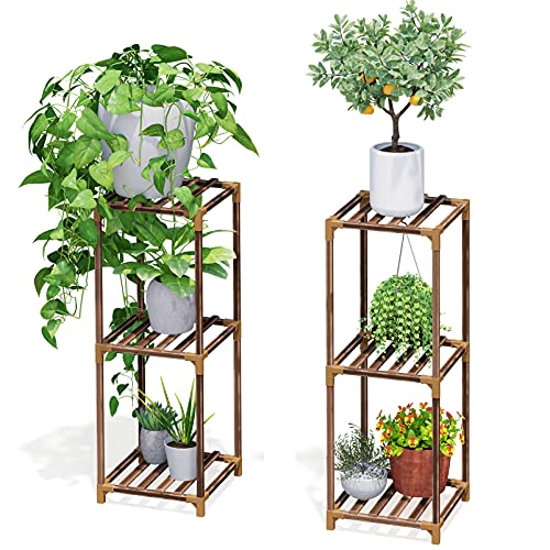 """SpaceAid 2 Pack Plant Stands for Indoor Outdoor Plants Set, 33""""/33"""" Flexible Combination Tall Plants Stand Shelf for Patio, Wood Flower Pot Holder for Living Room, Corner Balcony and Garden"""