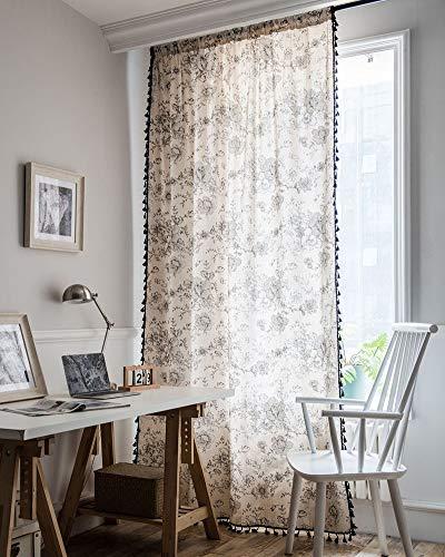 "vctops Vintage Floral Print Cotton Linen Window Curtain Panel with Tassels Boho Farmhouse Room Darkening Curtain Panel for Bedroom Living Room, 1 Piece (59""x63"",Flower)"