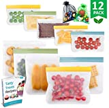 Reusable Storage Bags - 10 Pack Leakproof Freezer Bag(5 Reusable Sandwich Bags + 5 Reusable Snack Bags) EXTRA THICK Ziplock Lunch Bags for Food Storage Home Organization Traval & Make-up