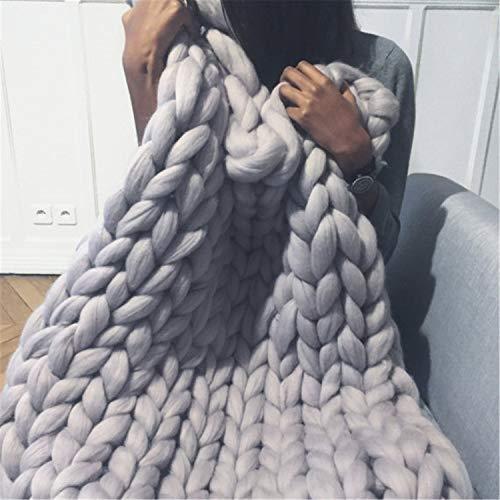 Jlxl Manta de punto súper gruesa, manta de merino voluminosa para sofá hecho a mano, alfombra de cama para mascotas, multicolor, suave y cálido regalo grande (color: gris claro, tamaño: 50 x 50 cm)