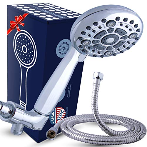 High Pressure XL Handheld Shower Head + Long Hose and Luxury 6 Spray Settings. Easy to Install Hand Held Showerhead for Powerful Rain Spray Even with Low Water Pressure