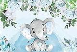 Fondo de fotografía de Fiesta de cumpleaños de Elefante bebé decoración de Mesa de Postre Banner Fondo de fotografía de Estudio recién Nacido A7 7x5ft / 2,1x1,5 m