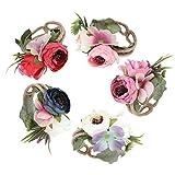 Beaupretty 5 Piezas Pulsera de Flores Realistas Ramilletes de Tela Pulseras Decoración para Dama de Honor Niña Novia Fiesta de Baile