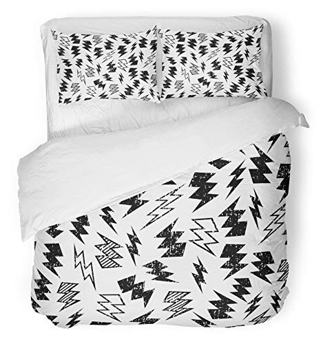 HATESAH 3 Piece Duvet Cover Set Microfiber Fabric Black and White Distressed Lightning Bolt Thunder Skate Hipster Flash Distress Bedding Set with 2 Pillow Covers 200 * 200cm+50 * 75cm*2