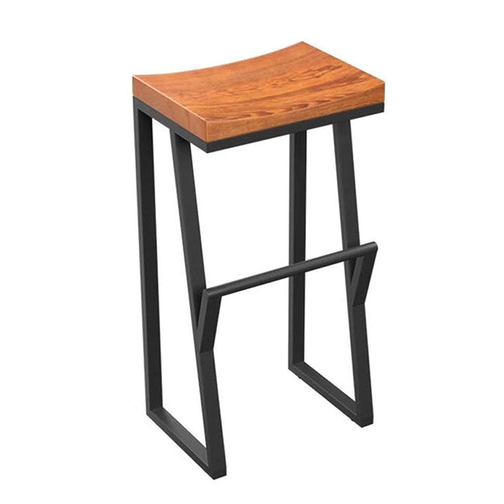 マーク勧告デコレーション木製の座席と金属脚黒工業用バースツールフットレストダイニングチェア用朝食バーキッチンパブカフェスツール JINRONG (Size : 38x36x75cm)
