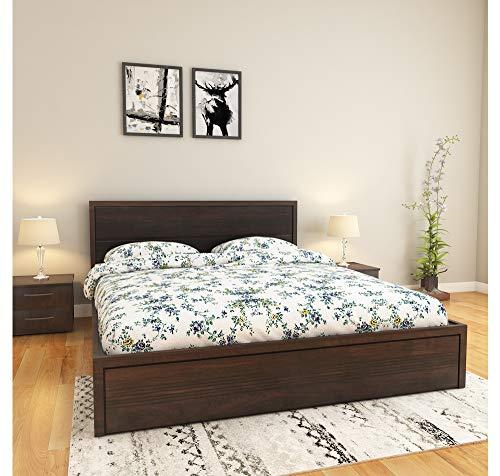 @home By Nilkamal Queen Engineered Wood;MDF Platform Bed - (Dark Brown)
