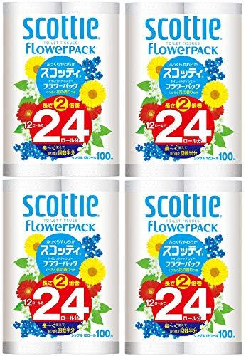 (ケース販売) スコッティ フラワーパック 2倍巻き(12ロールで24ロール分) トイレット 100mシングル×4点入り