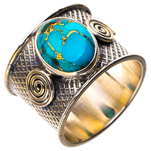 StarGems Anillo de plata de ley 925 de cobre natural turquesa hecho a mano O 1/2 D8360