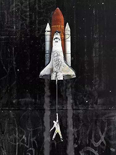 JHGJHK Astronauta de Arte Espacial Creativo Colgando de la Luna, pintando murales para la Sala de Estar, imprimiendo Pintura al óleo de decoración del hogar 4