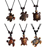 Boys Sea Turtle Pendant Necklaces Gifts for Women Men Kids Tortoises Jewelry Gifts Brown Adjustable String Rope 6Pcs M032