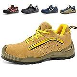 Zapatos de Seguridad Deportivos para Hombres - 7296Y Calzados de Seguridad Trabajo S1P con Puntera de Acero (Talla 43,Amarillo)