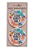 Natural Life Car Coasters Set of 2 Absorbent Coasters for your car truck van Beverages Stone Fast Drying Cup Holder Drinks Car Accessories (Good Vibes Only)