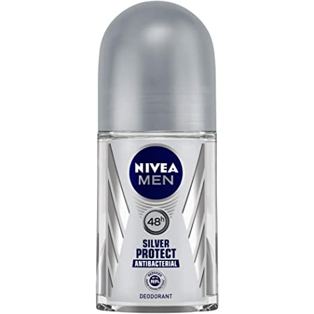 NIVEA Men Deodorant Roll On, Silver Protect, Antibacterial Odour Protection for 48h Freshness, 50 ml