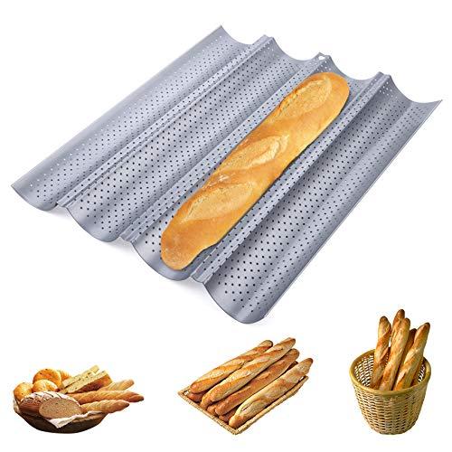 Homewit 4 Mulden Baguette-Backblech, 38 x 32 x 3 cm Baguetteblech für 4 Baguettes, Mit Antihaftbeschichtung, Gleichmäßige Erhitzung und Gute Wärmeleitfähigkeit, Für Familie, Restaurant, Bäckerei usw