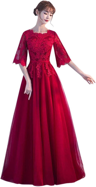 Drasawee Women's Lace Half Sleeve Graduation Dress Long Tulle Evening Party Dresses