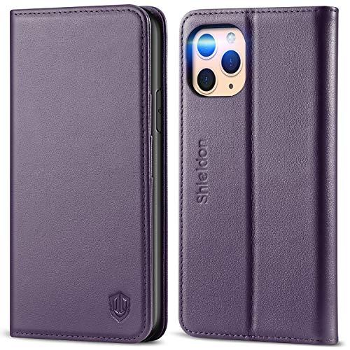 SHIELDON iPhone 11 Pro Hülle, Echtleder Handyhülle [Auto Sleep/Wake], Magnetische Stoßfeste TPU Schutzhülle [Kartenfach] [Standfunktion] [RFID Blocker] Case Etui Kompatibel für iPhone 11 Pro 5,8 Lila