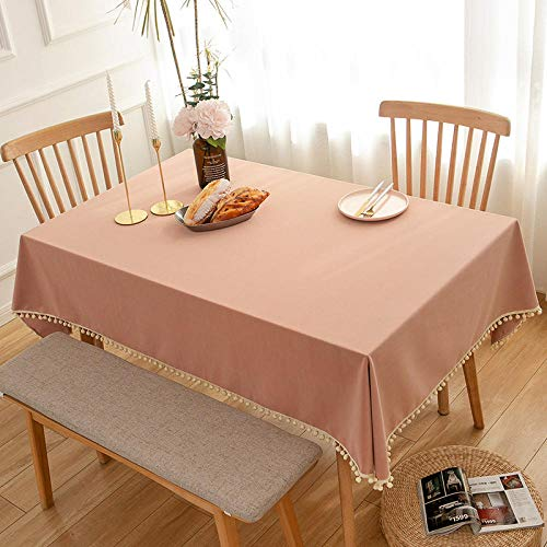 Kuingbhn Mantel de Shabby Nordic Lavable Diseño Transpirable y Resistente Al Desgaste para Las Mesas Rectangular Manteles Rosa 140×250cm