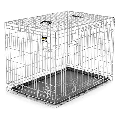 zoomundo XL Hundekäfig Transportkäfig Transportbox Tierkäfig Drahtkäfig Faltbarer Käfig aus Metall mit herausnehmbarer Kunststoffwanne