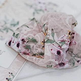 Pembe Çiçek Desenli Transparan Kısa Kadın Çorap