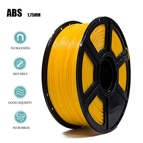 High Quality Yellow ABS Filament 1.75mm Accuracy ± 0.05 1KG/Roll 2.2 lb No Bubble Non-Toxic Eco-Friendly Consumable Suitable for Most 3D Printers