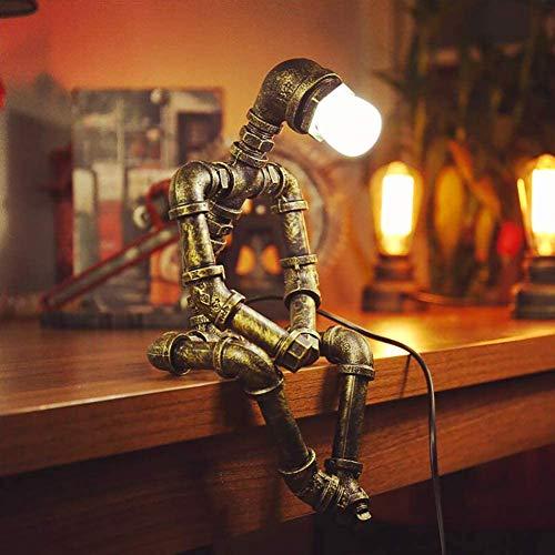 JAHQ Edison lámpara de escritorio retro base de madera y lámpara de mesa de vidrio transparenteIndustrial Vintage Robot lámpara de Escritorio Steampunk Lampara (Sin bombilla)