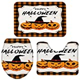OneHoney 3-Piece Bath Rug and Mat Sets, Halloween Pumpkins Bats Non-Slip Bathroom Decor Doormat Runner Rugs, U-Shaped Toilet Floor Mats, Toilet Seat Cover Orange and Black Plaid