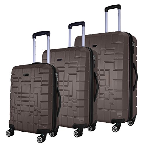 SHAIK® Serie XANO HKG Design Hartschalen Trolley, Koffer, Reisekoffer, in 3 Größen M/L/XL/Set 50/80/120 Liter, 4 Doppelrollen, TSA Schloss (Koffer Set, Anthrazit)