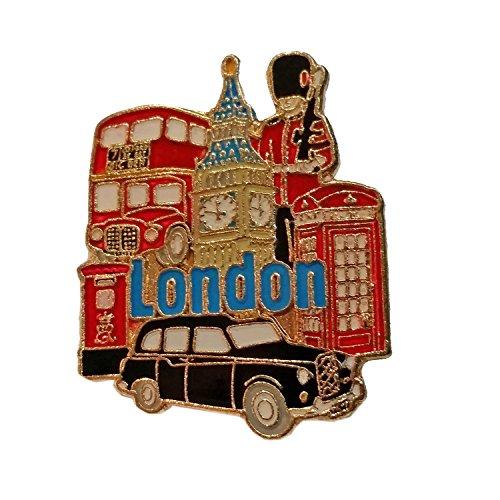 Pin de la Solapa Londres - Insignia Metal y Esmalte / Big Ben / Autobús de Dos Pisos / Taxi Negro / Guardia Real / Cabina Telefónica / Buzón / Recuerdo Británico de Inglaterra Reino Unido
