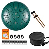 AETOO Steel drum tongue 8 inchs 11 notes F major Percussion instrument Kit Carry bag with Music book for Concert and mallets, Children's Music Enlightenment,for adults Yoga Meditation