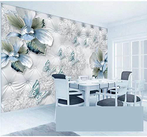 Preisvergleich Produktbild ZAMLE Fototapete 3D Stereo Blaue Blume Schmetterling Weiche Rolle Schmuck Wandmalereien Wohnzimmer TV Sofa Hintergrund Tapeten Dekor,  250x175 cm (98.4 by 68.9 in)