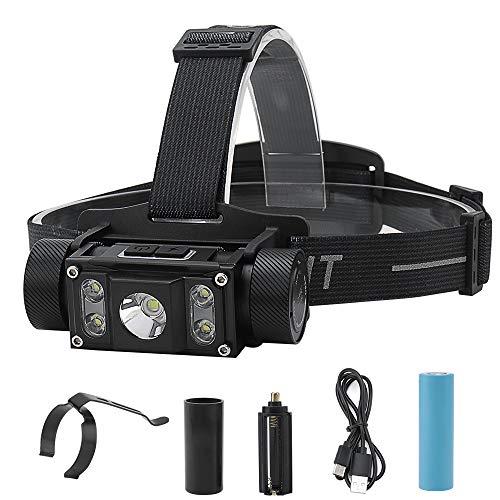 Boruit Multifunktionale Stirnlampe, 6 Modi, 1000 Lumen, 3 LEDs, IPX4, wasserdicht, 4000 mAh Kapazität, wiederaufladbar, ideal für Arbeit, Camping und Wandern, B50