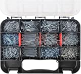 HongWay 1500pcs Hardware Nail Assortment Kit, Galvanized Nails, 12 Size Wire and Brad Nail...