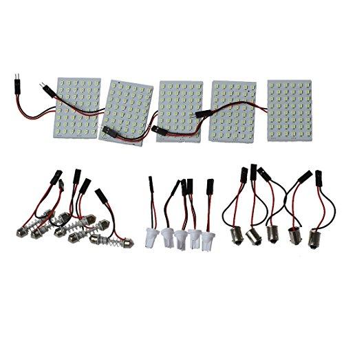 SODIAL (R) Car l'Interieur Panel Light 48 LED SMD T10 BA9S Dome Festoon Ampoule panneau adaptateur 12V Blanc