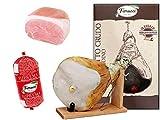 Jamón crudo entero con hueso, en caja regalo con tornillo de banco y cuchillo + Loncha de paleta cocida, aprox. 2 kg + Bola de Mortadela Suprema 760g
