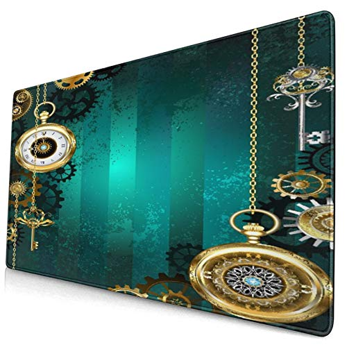 CANCAKA Large Gaming Mouse Pad,Industrial Antique Items Watches Keys and Chains with Steampunk Influences Illustration,Non-Slip Rubber Mouse Pads Mousepad for Gaming Computer Office Desk,75×40×0.3cm
