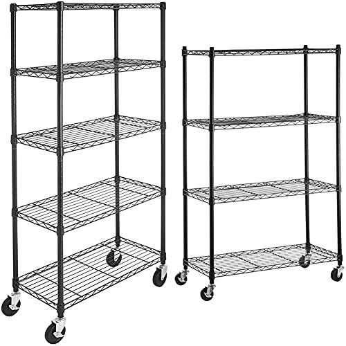 AmazonBasics 4-Shelf Shelving Storage Unit on 3'' Wheel Casters, Black (36L x 14W x 57.75H) & 5-Shelf Shelving Storage Unit on 4'' Wheel Casters, Metal Organizer Wire Rack, Black (30L x 14W x 64.75H)